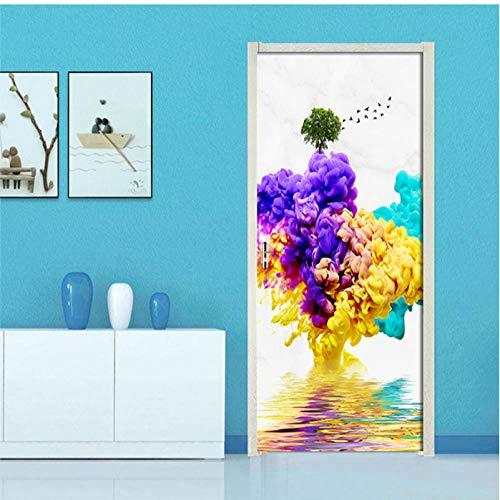 Removable 3D Door Stickers Abstract colored smoke Waterproof Living Room Bedroom Door Wallpaper Self Adhesive Wall Sticker Decal-95cmx215cm