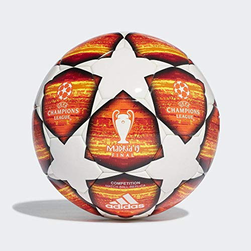 adidas Herren Finale M COMP Soccer Ball, top:White/Active red/Scarlet/Solar red Bottom:Bright orange/Solar Gold/Black, 5