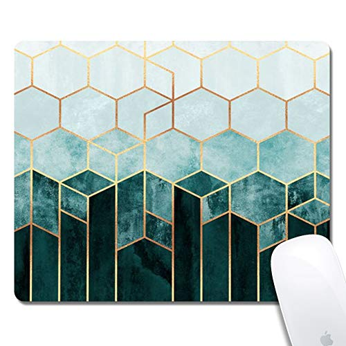 Customized Printed Green Marble Mouse Pad Ergonomic Computer Mouse Pad (9.5x7.9x0.1inch) Extended Gaming Mouse Mat with Non-Slip Rubber Base for Desktops Laptop Computer & PC, Home & Office