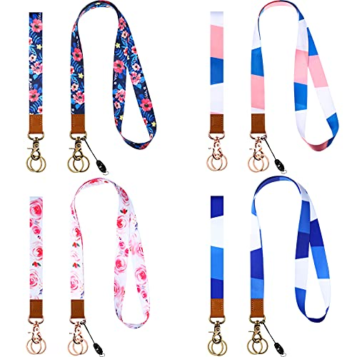 8 Pieces 4 Sets Neck Lanyard and Wrist Keychain Lanyard for ID Badge, Key Chain Neck Strap Badge Holder Neckchain Lanyard Hand Wrist Lanyard for Women Girl Key Phone ID Card Holder Camera