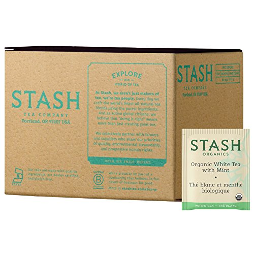 Stash Tea Organic Tea Bags in Foil White Tea with Mint 100 Count (packaging may vary) Individual Organic White Tea Bags for Use in Teapots Mugs or Cups, Brew Hot Tea or Iced Tea