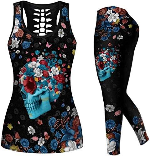 Linnhorr Mujer 2 piezas casual sudadera cráneo trajes estampados Tank Tops Yoga Leggings Jogger Sets Activewear negro 4XL
