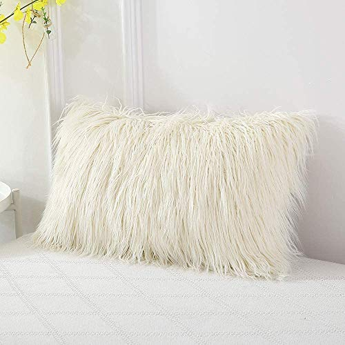 OJIA Deluxe Home Decorative Super Soft Plush Mongolian Faux Fur Throw Pillow Cover Cushion Case (12 x 20 Inch, Light Yellow)