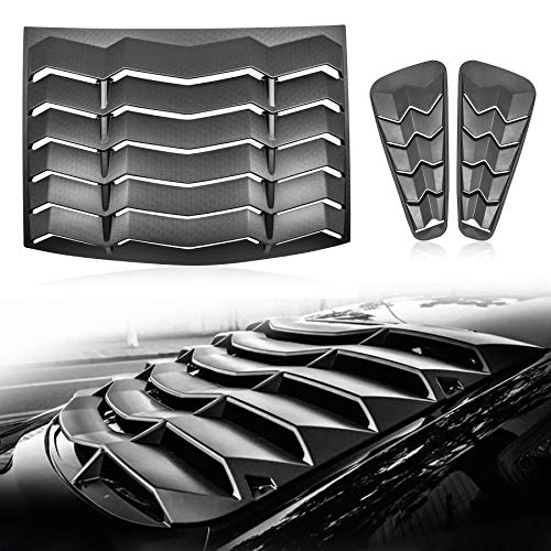 CUMART Rear+Side Window Louvers Windshield Sun Shade Cover Lambo Style Matte Black Compatible with Ford Mustang 2005 2006 2007 2008 2009 2010 2011 2012 2013 2014