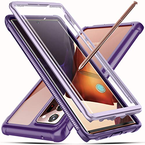 Temdan for Samsung Galaxy Note 20 Ultra Case, Built-in Screen Protector Full Body Heavy Duty Shockproof Case Support Wireless Charging for Samsung Galaxy Note 20 Ultra 6.9 inch 2020(Purple)