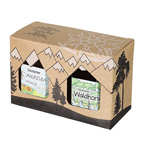 Puntzelhof Allgäuer Genuss-Box – Feinkost Geschenk-Set 2 x 250g Deutscher Honig - Attraktives Geschenkset aus Kraftkarton