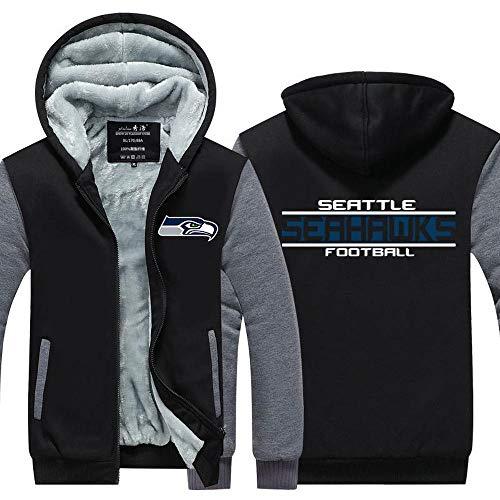 BBSC Hombres Camiseta De Manga Larga con Capucha De La Seattle Seahawks De Fútbol Ropa De Deporte Calentar La Costura De Manga Larga Chaqueta con -Zip Unisexe Black-XXL