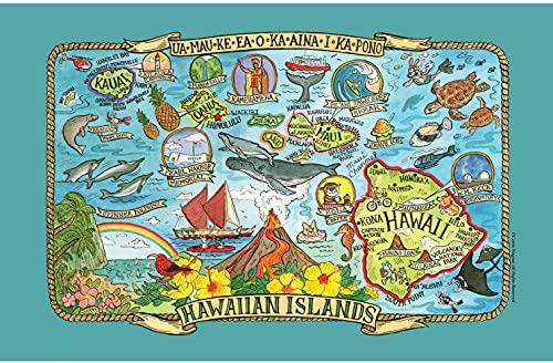 Hawaiian Islands Tea Towel Adventure Destinations Souvenir Pictorial Poster Style Map of Hawaii Kitchen Towel