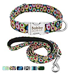 ★FASHION FLORAL DOG COLLAR AND LEAD SET - Durable high grade nylon webbing is added to match charming floral patterns, comfort, wear-resistant and easy to clean. Instead of pure or common colors, Blue Iris, Bohemia Daisy, Mint Green Floral, Black Whi...