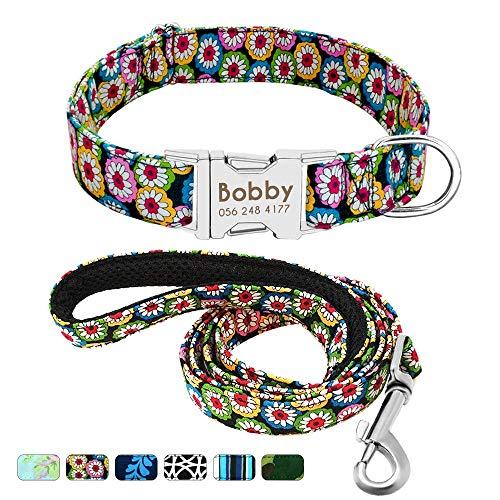 Beirui Collar Perro Personalizado con Hebilla de liberación rápida – Collares para Perros Personalizados con Patrones Florales – Bohemia Daisy Collar y Correa Perro - S(10-15.5