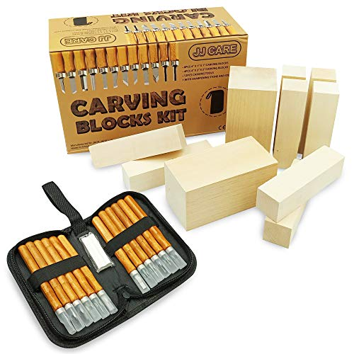 JJ CARE [Premium] Wood Carving Kit - Wood Whittling Kit - 10 Wood Blocks + 12 SK2 Carbon Steel Tools - Beginner Whittling Kit for Kids and Adults, Basswood Carving Kit, Soap Carving Set