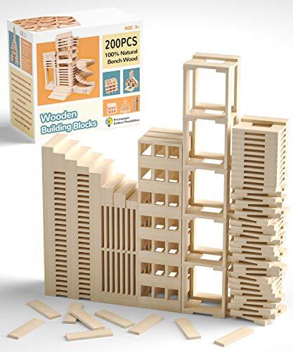 QNINE Holzbausteine Natur Holzbaukasten 200 teilig, Holzsteine zum Bauen, Holzklötze Baby ab 1 Jahr, Holzspielzeug Bauklötze mit Box