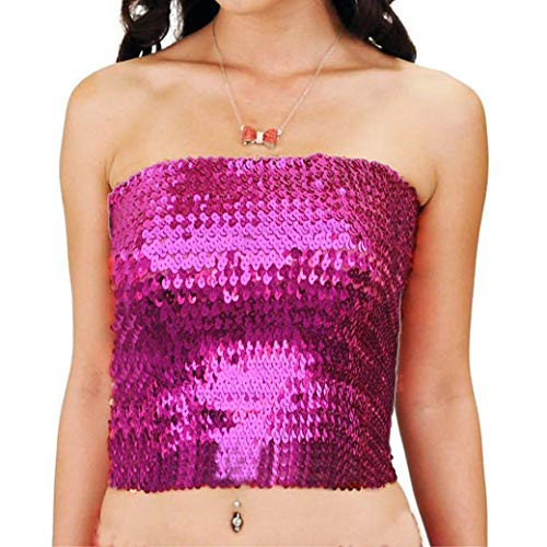 Fenyong Sequins Tube Top for Womens Party Clubwear(Hot Pink)
