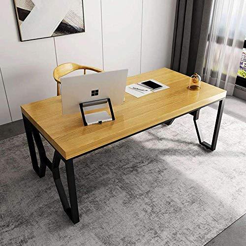 productos Escritorio de escritorio de madera maciza para computadora, mesa de conferencias de oficina de hierro simple, escritorio de estudio familiar compacto, usado en sala de estar / dormitorio / e