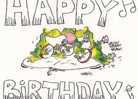 Happy Birthday Postkarte Froschkonzert
