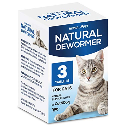 HERBALPET Health Supplements | Cat Dewormer Alternative | Works for Kittens, Medium and Large Cats | 3 Tablets | One-time Treatment