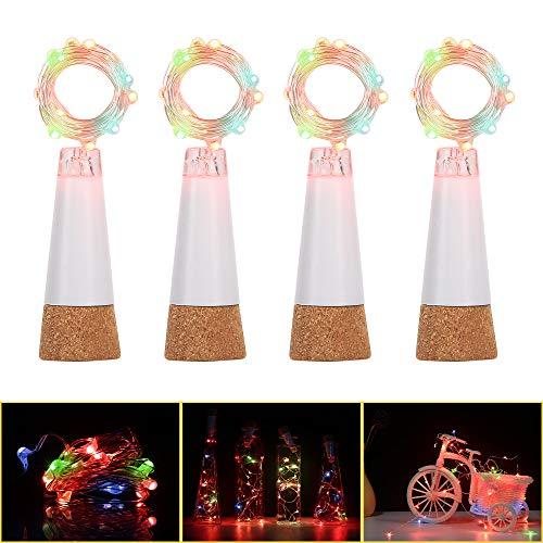 Luces LED para botella de corcho, alambre de cobre, recargable por USB, 15 luces de corcho LED para bricolaje, fiestas, Navidad, bodas ( 4 piezas, multicolor)