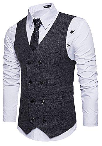 WHATLEES Herren Schmale Tweed Weste aus Strukturiertem Material mit Zweireihige Knopfleiste und strukturierter Tweed B729-Black-XL