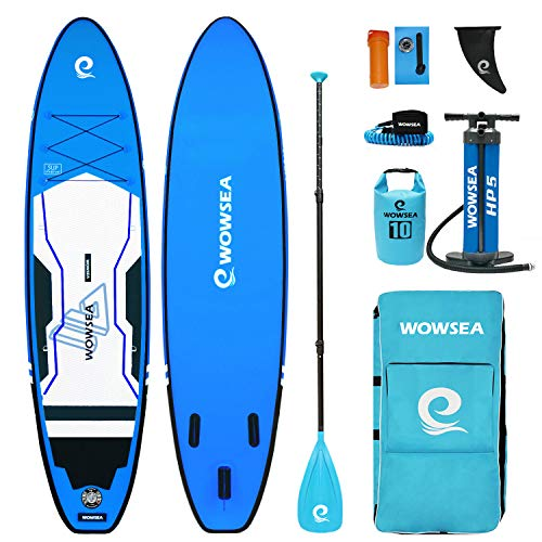 WOWSEA Trophy T1 Inflatable Paddle Board, Durable and Stable Exploring SUP Board, Fishing & Hunting Paddleboard, 11' Long x 32' Wide x 6' Thick with iSUP Accessories (Blue)