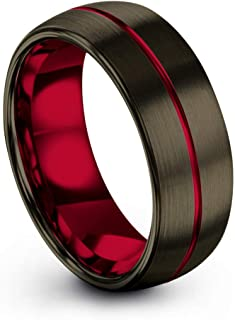 Chroma Color Collection Tungsten Carbide Wedding Band Ring 8mm for Men Women Green Red Blue Purple Black Copper Fuchsia Teal Center Line Gunmetal Dome Brushed Polished