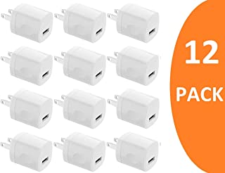 Boost Chargers 5W USB Power Adapter One Port Wall Charger Block 1A Cube Plug for Outlet Compatible for iPhone 8 / X / 7 / 6S / Plus +, Samsung Galaxy, Motorola, HTC, Other Smartphones (12-Pack) White