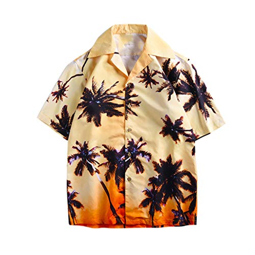 Affordable 2019 Summer Men's Hawaiian Flower Print Relaxed-Fit Shirts Casual Button-Down Short Sle...
