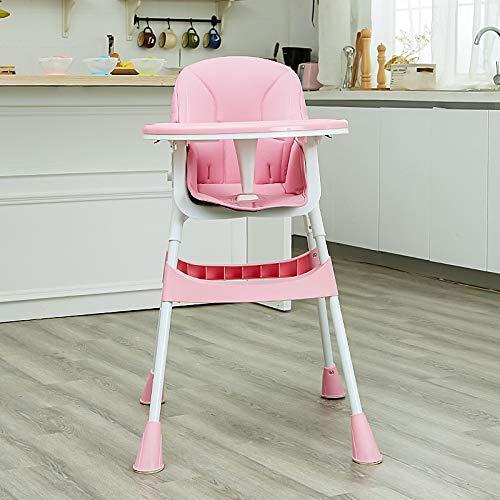 JiGAN Inklapbare babystoel - verstelbare zitting voor babystoelen - hoge stoelen met uitneembaar dienblad, afwasbaar, comfortabel babykussen