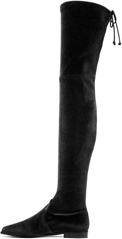 Amy Q Comfortable Women's Faux Suede Low Heel Elastic Over The Knee Boots