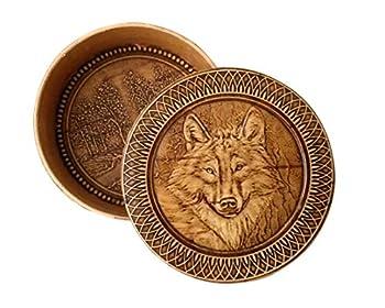 Round Decorative Trinket Birch Bark Wooden Box Animals  Wolf