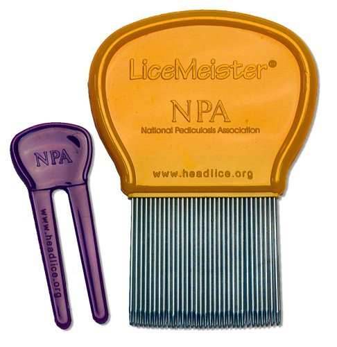 LiceMeister Lice & Nit Removal Comb, precision spaced stainless steel teeth locked into sturdy plastic handle for easy cleaning, #1 school approved, with cleaning tool included.