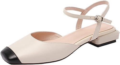 ZYN-XX Printemps et été Chaussures à Talons Bas pour Les Femmes avec des Chaussures à tête carrée de Couleur