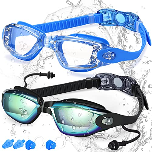 COOLOO Swim Goggles, 2 Pack Swimming Goggles Anti-Fog for Men Adult Women Kids