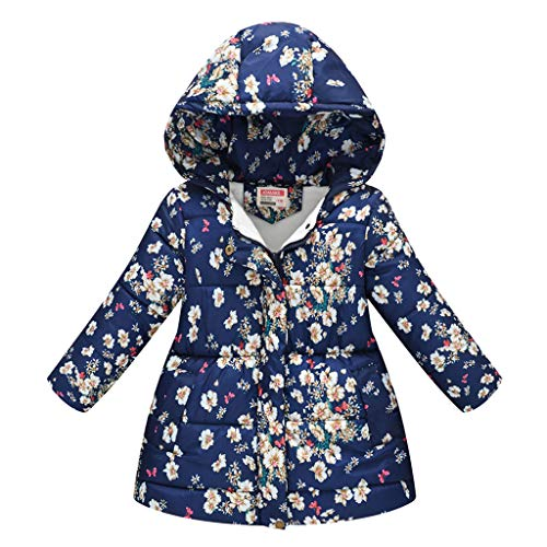 TUDUZ Abrigo con Capucha Bebé Floral A Prueba De Viento Tops Almohadilla Algodón Cazadoras Disfraz Invierno (ArmadaB, 120)