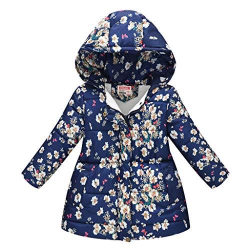 Allence Mädchen Winterjacke Kinder Wintermantel SteppjackeBlumen Muster Baumwollgefuetterte Mantel mit Fellkapuze Farbe Größe Wählbar