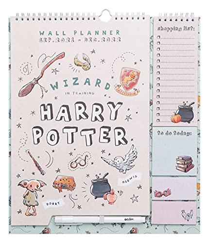 Calendario 2021 2022 da Muro Harry Potter, Calendario 2021 2022 da parete con planner mensile da Settembre 2021 a Dicembre 2022, include bloc notes, bloc adesivi, adesivi stickers e penna, 34x30 cm