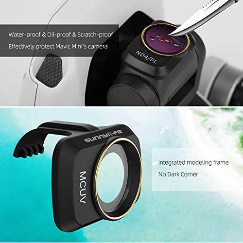 Veecome RC Drone Lens Filter Set ND CPL NDPL MCUV Kits for Mavic Mini Airplane Mini Camera Accessories Multi-Layer Coating Optical Glass MCUV