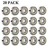 Roulements à billes 608 ZZ, roulements à billes miniatures à gorge profonde pour 608zz métal (8 mm x 22 mm x 7 mm)