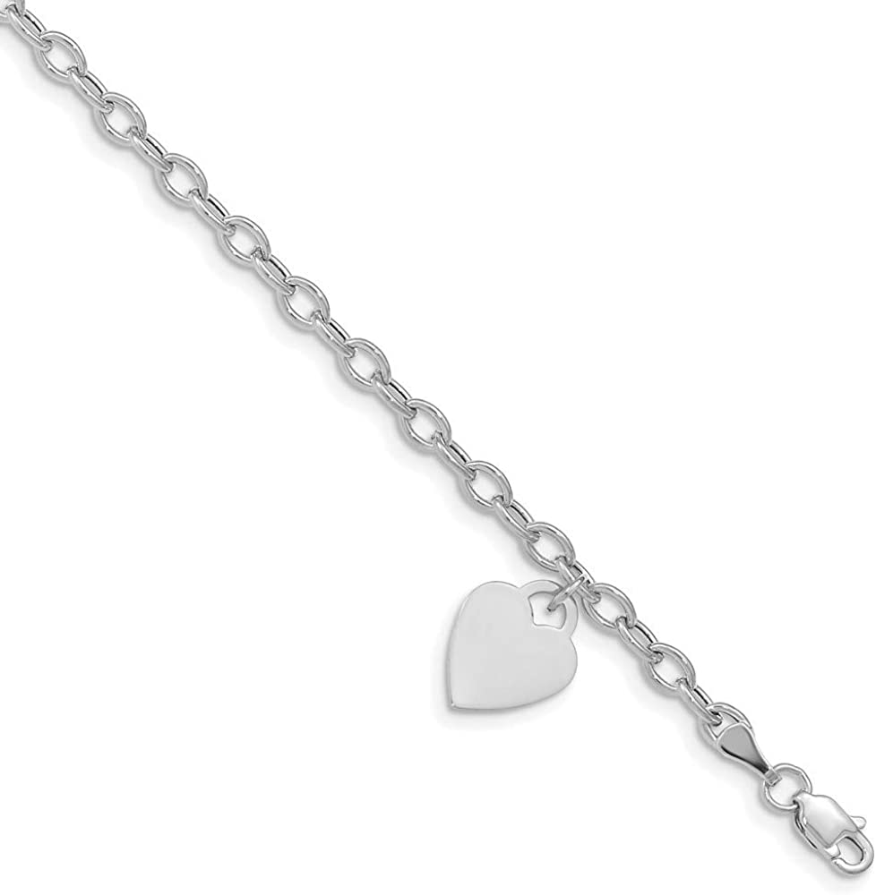 14k White Gold Dangle Heart Bracelet 8.5 Inch Charm Love Fine Jewelry For Women Gifts For Her