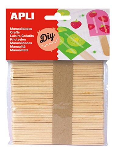 Paquete de 50 palitos de madera natural Perfecto para la elaboración, la decoración y la pintura 100% reciclable Se suministra en paquete colgante Fácil de pegar, pintar y usar Palos son 110 mm longitud y 10 mm ancho