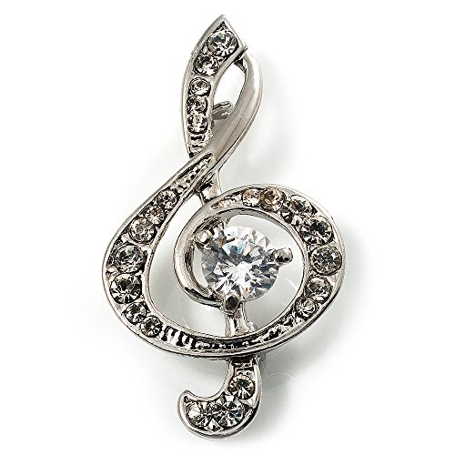 Avalaya Silver Tone Crystal Music Treble Clef Brooch (Clear)