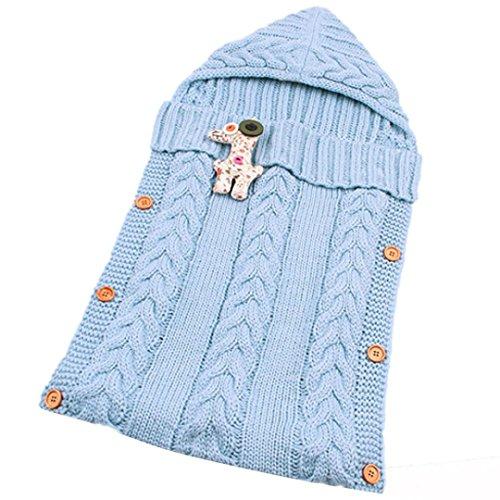 sunnymi Gestrickt Schlafsack Baby,Mit Kapuze Anti-Kick,Isomatte Winter,Babyschlafsack Für 0-12 Monate (73 * 35cm, Blau)
