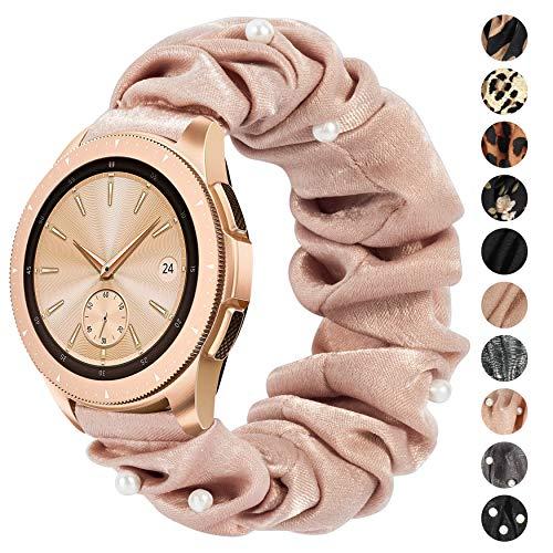 Ownaco Kompatibel mit Samsung Galaxy Watch3 41mm Armband Scrunchies Perle Beige Stoff Weiches Muster Bedrucktes Gewebe Ersatzarmbänder Frauen Elastische Scrunchy Bänder für Active2 40mm 44mm,Klein