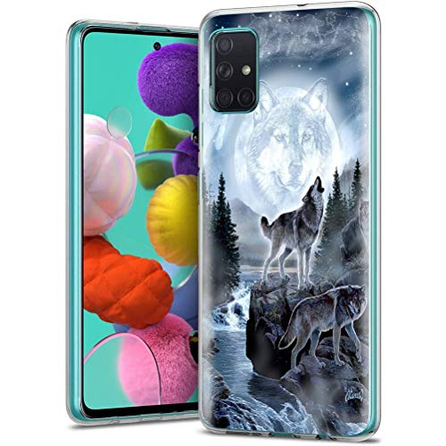 ZhuoFan Funda Samsung Galaxy A71 4G, Cárcasa Silicona Transparente con Dibujos Diseño Suave TPU Antigolpes de Protector Piel Case Cover Fundas para Movil Samsung Galaxy A71 4G, Lobo 1