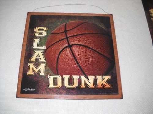 Slam Dunk Basketball Boys Sports Bedroom Wooden Wall Art Sign 7x7 size