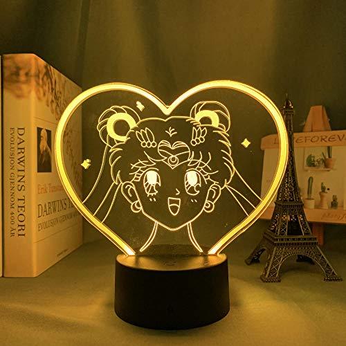 ZMSY - Lámpara de noche 3D con diseño de anime y luna para niños