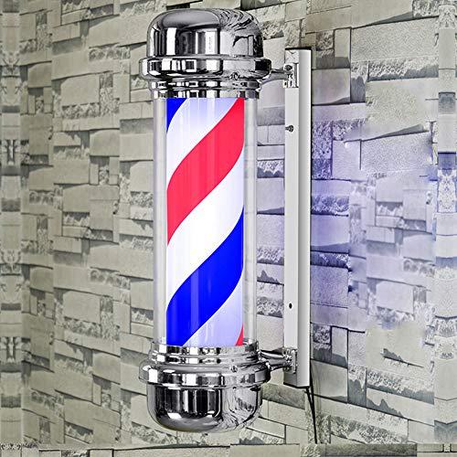 LCYFBE Poteau de barbier 71 cm Traditionnel Rouge Blanc Bleu Rayons lumineux et rotatifs à LED Ampoule