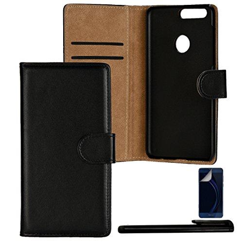 4in1 PREMIUM Custodia per - Huawei Honor 8 - Portafoglio Flip Cover Wallet con Chiusura Magnetica in NERO + 1xStilo + 1x Pellicola Protezione