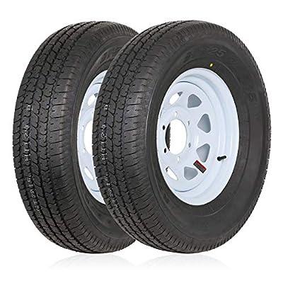 "Ark Motoring ST225/75R15 Radial Trailer Tire With 15x6 inch Wheel, 6 Lug 5.5"" Center, 117M 10-Ply Load Range E,Set of 2"
