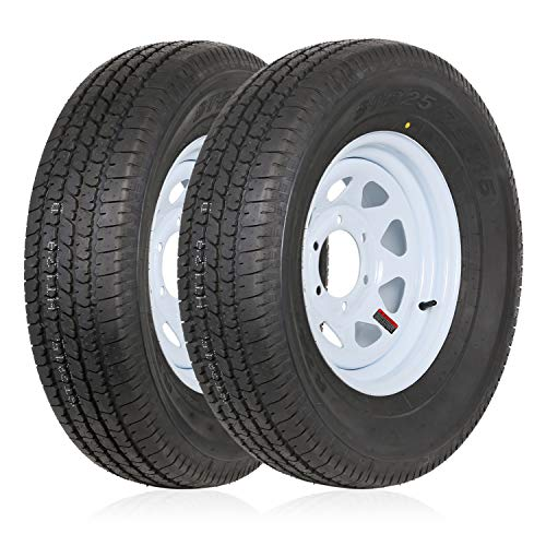 """Weize ST225/75R15 Radial Trailer Tire With 15x6 inch Wheel, 6 Lug 5.5"""" Center, 117M 10-Ply Load Range E,Set of 2"""