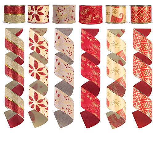 Alonsoo Wired Christmas Burlap Satin Ribbon, Holiday Christmas Design Decorations Wrapping Ribbons Assorted Classic Rustic Fabric Handcraft Gift 36 Yards Red, Gold (6 Roll x 6 yd) by 2.5 inch